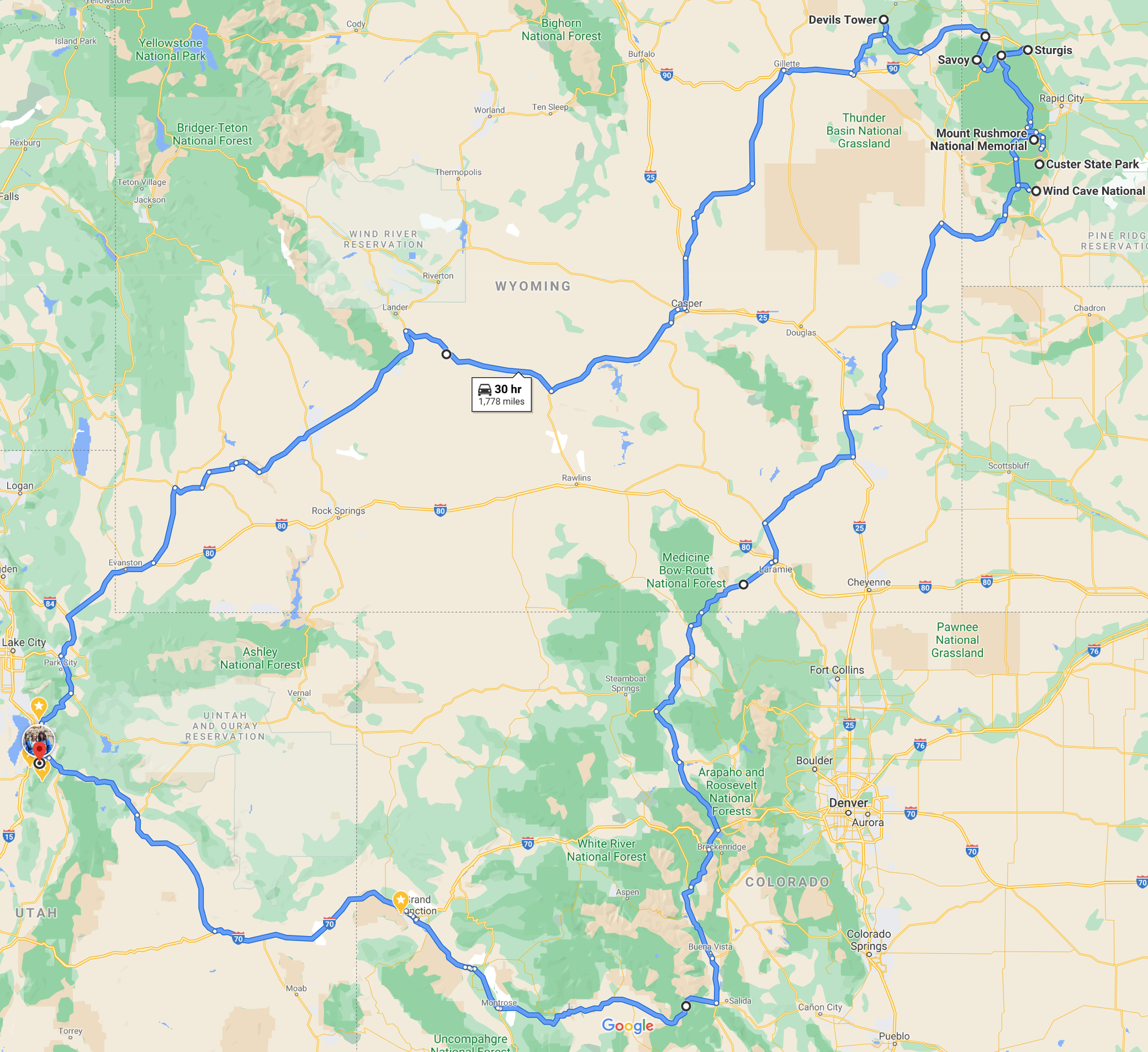 Map Full trip with Blue Mesa